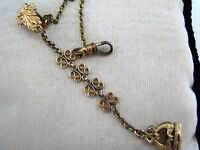 Vintage Gold Filled Filigree Links Watch Fob with Pocket Watch Chain