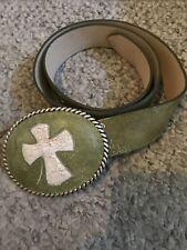 BNWOT Cheryl Dufault Rare Custom Artisan Leather Belt & Cross Buckle Cowgirl 32