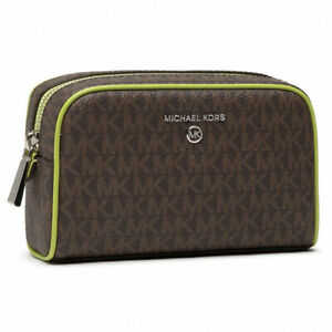 NWT Michael Kors Jet Set Charm Medium Zip Travel Pouch in Lime (Brown)