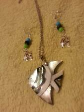 Natural Mosaic Shell fish Pendant/fish green/black/blue bead earring