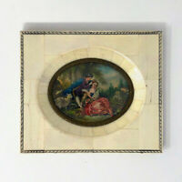 "Antique Miniature Painting Boucher's ""The Four Seasons Spring"" Piano Key Frame"