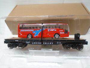 Menards O Gauge Lehigh Valley Flatcar with Travel Bus