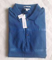 $70 NWT Mens Calvin Klein Liquid Cotton Open Water Blue Textured Polo Shirt M