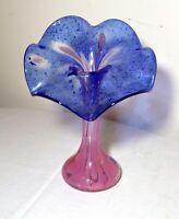 vintage signed hand blown jack in the pulpit flower blue art studio glass vase