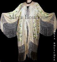 Embroidered Silk Opera Coat Kimono Fringe Jacket Birds & Flowers Pastels Greens