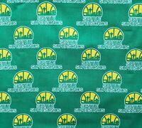 Seattle SuperSonics Cotton Fabric - 18x44 Half Yard NBA Basketball New