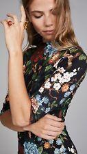 Alice + Olivia Delora Mock Neck Fitted Dress Floral Print Black Size 8 NWOT