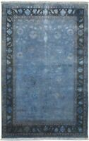 """Wool / Silk Blue Rug 4' X 6' Persien Hand Knotted Indian Oriental 3'9""""X6'0"""""""