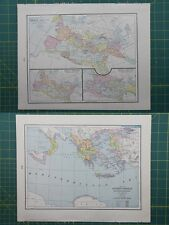 Roman Empire Ancient Greece Vintage Original 1895 Crams World Atlas Map Lot