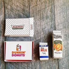 Dollhouse Miniature Assorted Box Doughnut Milk Juice Food Mini Supply Decor