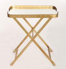Table D'appoint Gueridon Metal Verre Miroir Salon Style Ancien Vintage Dore