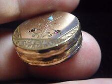 Antique Victorian locket turquoise garnet gold filled floral ornate vintage