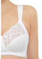 SOFT SHOULDERS $42 Bra Comfort & Support (X-WIDE-STRAPS) Full-Figure White NEW