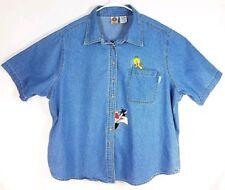 Womens Vintage Looney Tunes Blue Denim Shirt Sylvester & Tweety SS EXC Condition