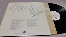 BETTE MIDLER - LIVE AT LAST - PR 275, POP, EDITED FOR AIR PLAY, VINYL RECORD