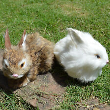 2 x Mini Realistic Rabbits Handcrafted Easter Photo Prop Real Rabbit Fur Bunnies