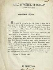Asilo Infantile di Ferrara Votazione per le Cariche di Direttore Segretario 1856