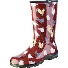 Sloggers-Women's Rain&Garden ChickenPrintCollectionGardenBoots,Sz10,BarnRed