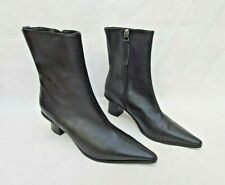 TOPSHOP MAILE BLACK LEATHER ANKLE BOOTS FUNKY HEEL EU38 UK5 VGC FREE UK P&P!!