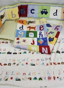 Pottery Barn Kids Crib Set Green Gingham Alphabet Animals Quilt, Sheets, Bumper