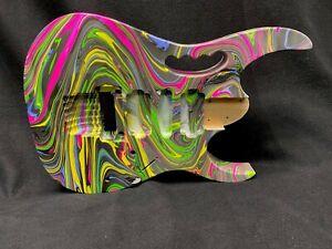 Alder 6 string Jem style guitar body, multicolor swirl, AANJ, HSH- RB133