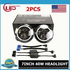 2X 7IN 40W Round LED Headlight LED Light Halo Angel Eye DRL Ford Wrangler JK CJ