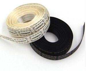 4,5 m Handmade Stoff Etiketten Label Rolle Nähen Einnäher Basteln beige schwarz