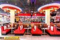 HW-70DB-Off American Dinerbank Sitzbank Diner Bänke Möbel USA Style Gastronomie