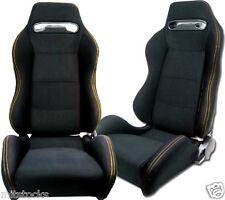 2 BLACK CLOTH + YELLOW STITCH RACING SEATS RECLINABLE + SLIDERS PONTIAC NEW *