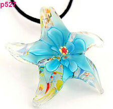 p527 Starfish flower Lampwork Glass Pendant Necklace CA