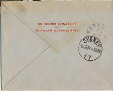 Stamp England 1d red King Edward on The Locomotive Magazine cover 1907 Australia