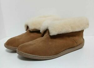 Minnetonka Alec Suede Leather Slippers Booties 10 Tan Fur Lined Hard Sole