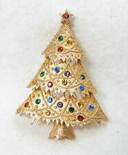 Vintage JJ Signed Fruit Salad Rhinestone Holiday Christmas XMAS Tree Brooch Pin