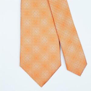 FENDI TIE All Over FF & Square on Orange Skinny Woven Silk Necktie
