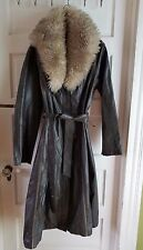 The Tannery Montgomery Ward Leather Maxi Duster Trench Coat Shearling Womens 18T