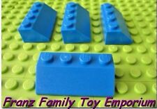 New LEGO Lot of 4 Blue SLOPE 2x4 BRICK Kingdom Castle Roof Wall Building Part