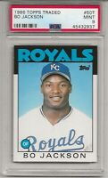 1986 TOPPS TRADED # 50T BO JACKSON, ROOKIE, PSA 9 MINT, K.C. ROYALS L@@K !