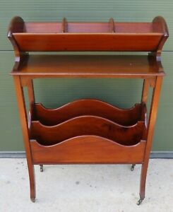 Antique Edwardian Mahogany Magazine Rack with Book Stand Country House Library