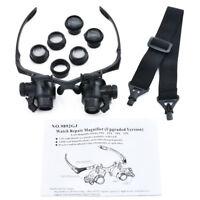 Magnifier Magnifying Eye Glasses Loupe Lens Jeweler Watch Repair LED + 8 Lens