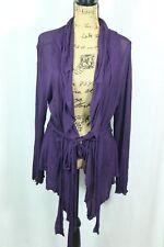 Yuvita Sheer Tie Waist Cardigan Women's 12 Deep Purple Long Sleeve Shrug Ruffle