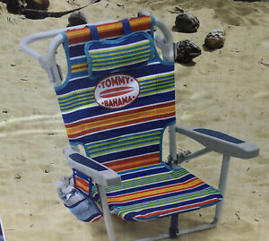 Tommy Bahama Kids Backpack Beach Chair 5 Position Rustproof Padded Headrest NEW