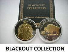 1 OZ SILVER COIN LAKOTA BLACKOUT COLLECTION RUTHENIUM-24KT WHITE BUFFALO