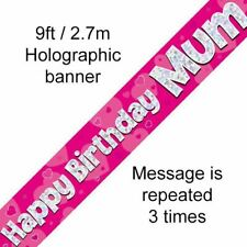 Happy Birthday Mum Pink Holographic 9ft Banner