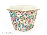 Vintage Chinese Export Polychrome Porcelain Floral Hexagon Vase or Planter