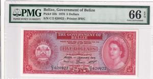 1976 Belize 5 Dollars P-35b PMG 66 EPQ Gem UNC