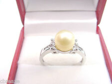 LIGHT GOLDEN CULTURED PEARL 7.20 mm and .10 TCW DIAMONDS 10K WHITE GOLD RING