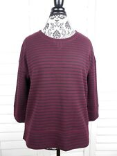 Lou & Grey Striped Knit Blouse Women Medium Red Black Pullover Top Shirt Casual