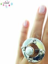 Turkish 925 Sterling Silver Jewelry Authentic Pearl Adjustable Size Ring R2378