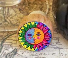 Sun and Moon Wine Stopper, Handmade Whimsical Wood Cork, Bottle Stopper