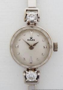 Genuine Rolex 14k White Gold Lg Diamond Mid Century Ladies Vintage Watch